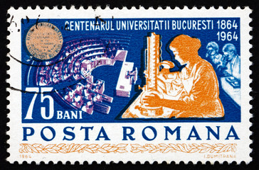 Postage stamp Romania 1964 Women Students in Laboratory