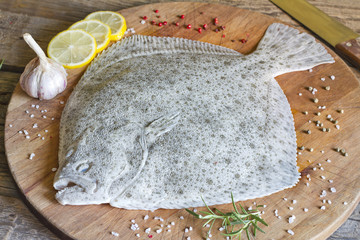 Turbot fish in the kitchen on cutting board