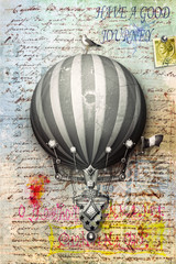 Postcard background with montgolfier