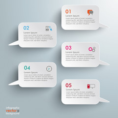 5 Rectangle Speech Bubbles Infographic