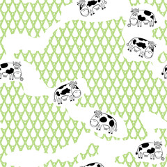 Seamless cartoon pattern with cows.