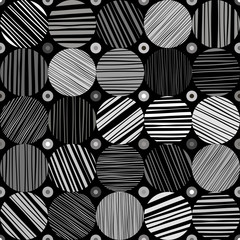 Seamless abstract monochrome pattern. Hand drawn striped circles