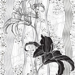 Monochrome seamless pattern with lilies.