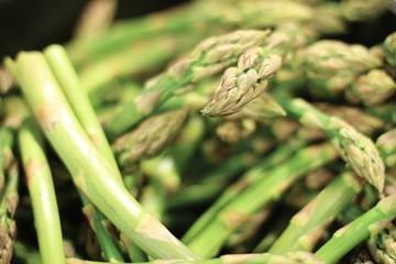 fresh asparagus loose in pile