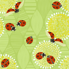 Seamless pattern with ladybugs. Vector art illustration. Kids ba