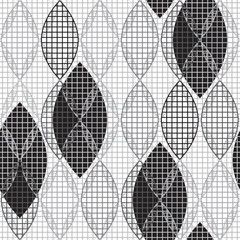 Abstract monochrome geometric seamless pattern.