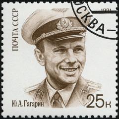 USSR - 1991: shows Yuri A. Gagarin (1934-1968), cosmonaut