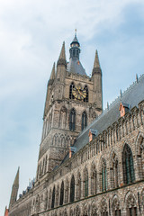 The tower of Ypres Cloth Hall Flanders Belgium