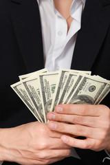 Man shows money dollars wealth millionaire