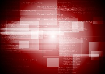 Abstract red tech squares background