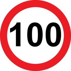100 speed limitation road sign