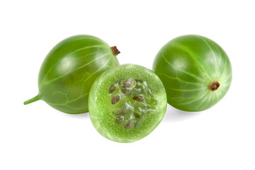 Green ripe gooseberry closeup with seed on white background