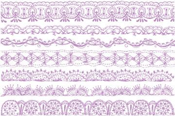 刺繍レースのライン ガーリーイラスト