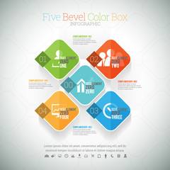 Five Bevel Color Box Infographic