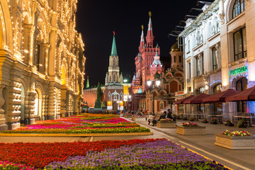 Night view of street and Kremlin in Moscow. Russia