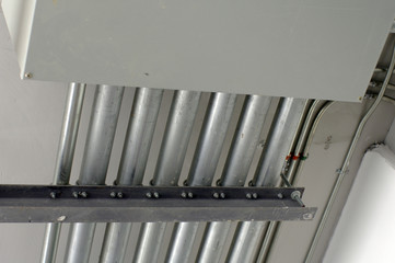 metal pipes on the ceiling