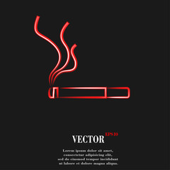 Smoking sign. cigarette. Flat modern web button and space for