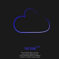 Cloud download application web icon, flat design