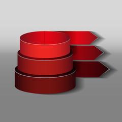 красные ленты разного диаметра