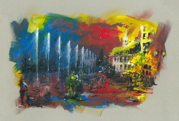 city by the lake acrylic painting