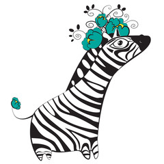 Zebra with flowers