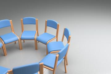 blaue Stühle Ausschnitt
