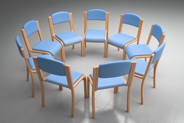 blaue Stühle im Kreis