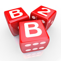 B2B Letters Three Red Dice Gamble Betting Business Sales Win Sal