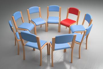 blauer Stuhlkreis roter platz