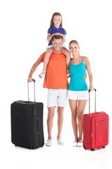 happy family walking with luggage on white background.