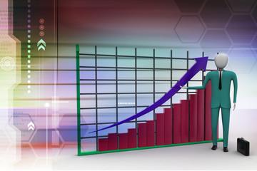 business man standing near a financial graph