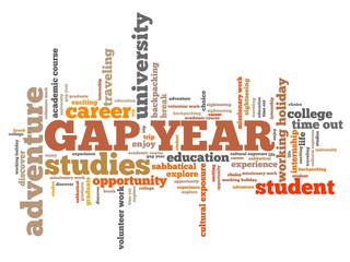 Gap year - word cloud illustration