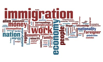 Immigration - word cloud illustration