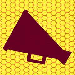 Megaphone, Loud-hailer .Flat modern web button and space for