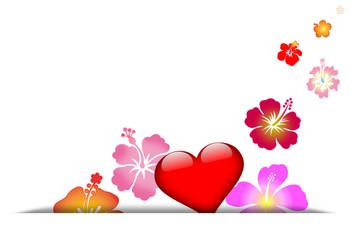 carte de voeux coeur fleuri