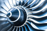 blue toned jet engine blades closeup poster