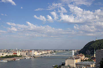 Gellert hill and Elisabeth bridge Budapest cityscape
