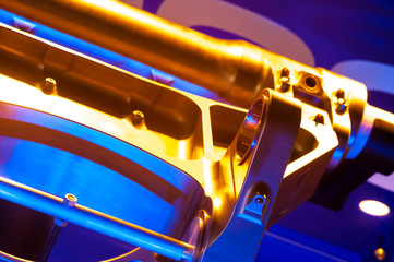 mechanical parts abstract with boosted color tones