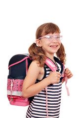 happy little girl with schoolbag