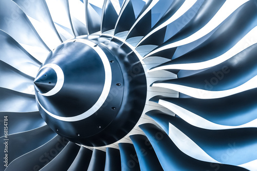 Leinwandbild Motiv blue toned jet engine blades closeup