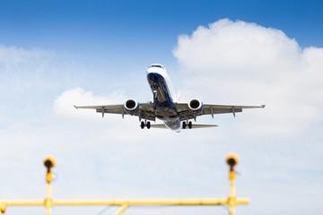 Commercial airplane preparing for landing