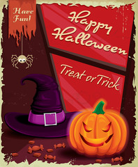Vintage Halloween poster set design with witch
