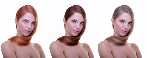 Hairstyle. Hair coloring. Model with healthy shiny long hair.