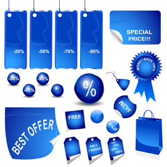 blue stickers sales vector
