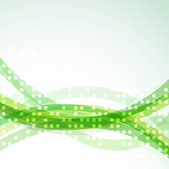 Bright green abstract swoosh lines dot background