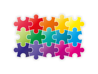 Colorful rainbow puzzle pieces forming a square