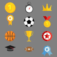 Sports icons flat style templates