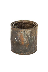 Rusty tin can on white background
