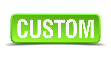 Custom green 3d realistic square isolated button