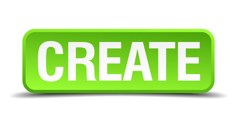 Create green 3d realistic square isolated button